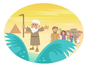 dessin Moise écartant la mer